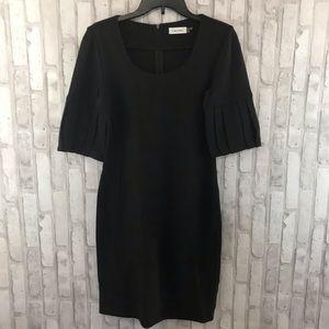 Calvin Klein Brown Pleated Sleeve Sheath Dress
